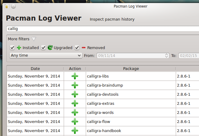 Pacman Log Viewer / Приложение для просмотра журнала работы
