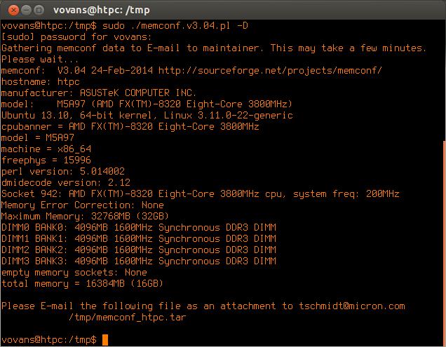 memconf утилита для получения подробной информации о модулях памяти