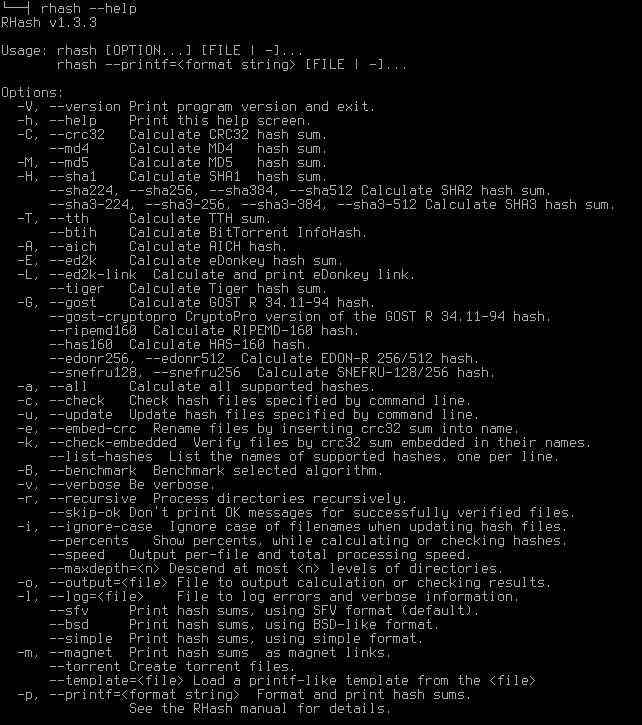rhash Консольная утилита для вычисления контрольной суммы файлов Контрольная сумма рассчитанное с применением заданного алгоритма значение используемое для проверки целостности данных при их перемещении
