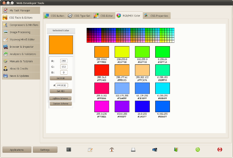 Web Developer Tools - выбор цвета