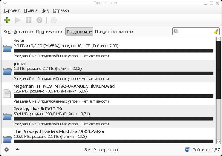 transmission - torrent-клиент для Linux
