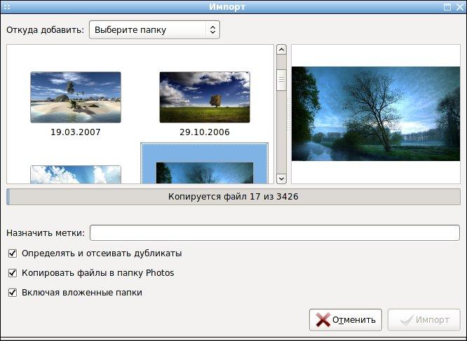 F-Spot - фото-органайзер для Linux, импорт