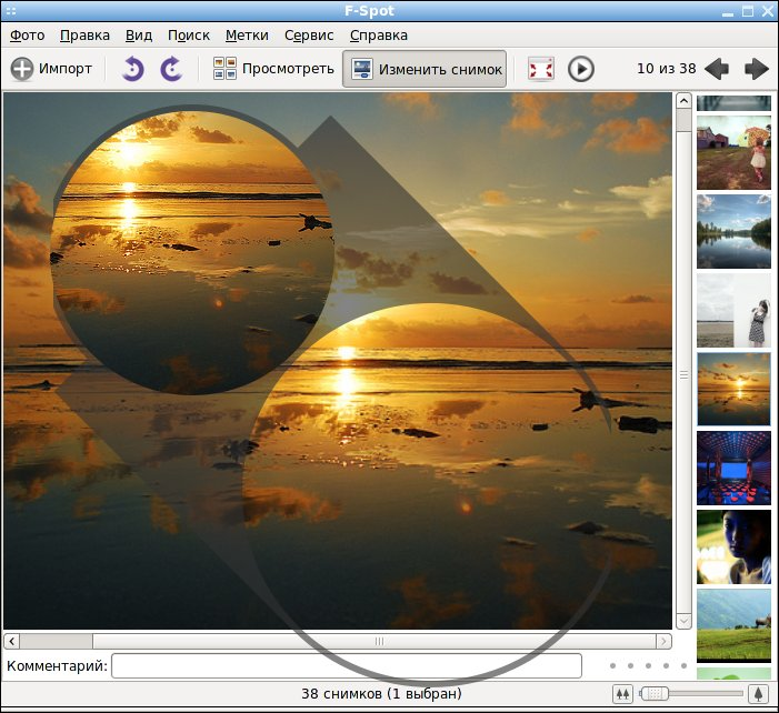 F-Spot - фото-органайзер для Linux, эффекты