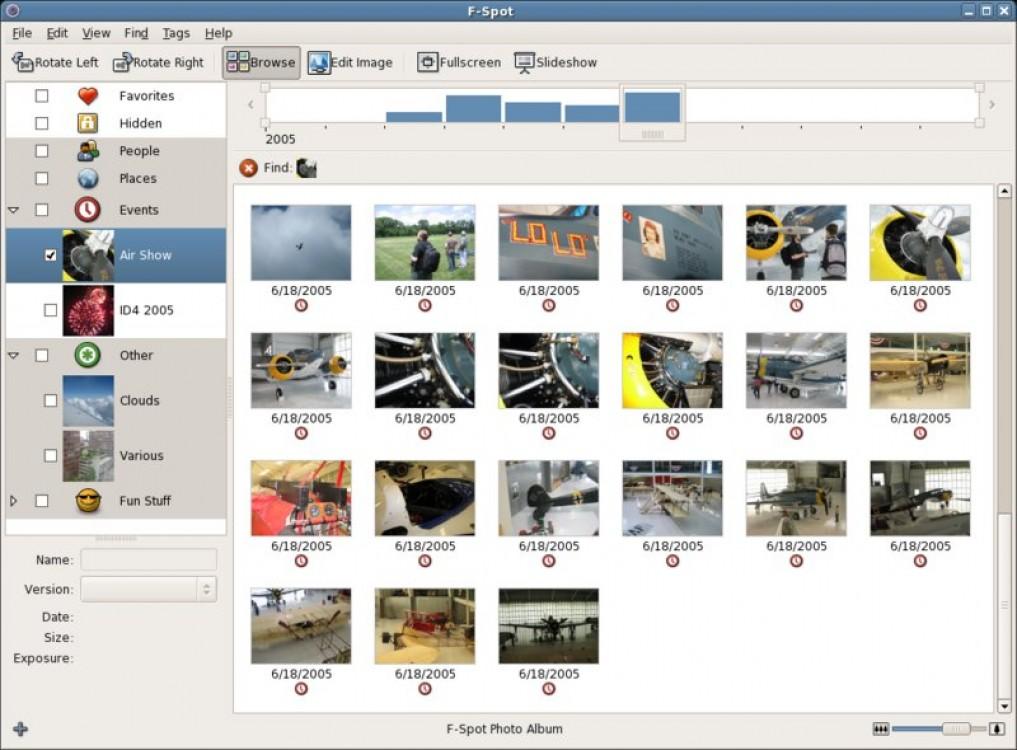 F-Spot - фото-органайзер для Linux, главное окно