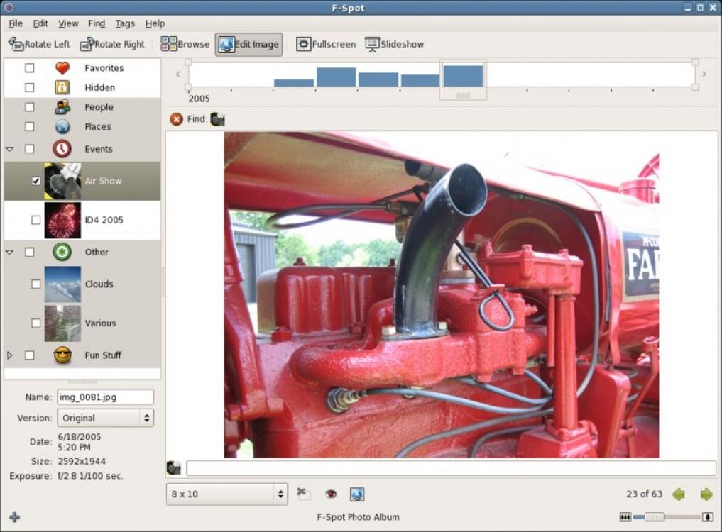 F-Spot - фото-органайзер для Linux, сортировка по дате