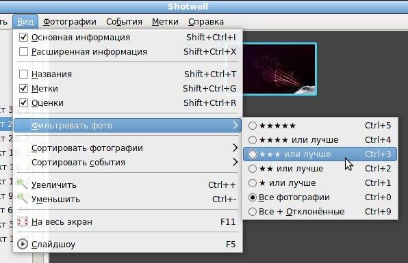 ShotWell - менеджер фотографий, фильтры