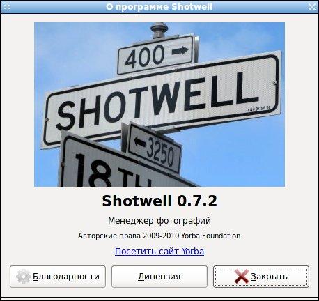ShotWell - менеджер фотографий, окно О программе