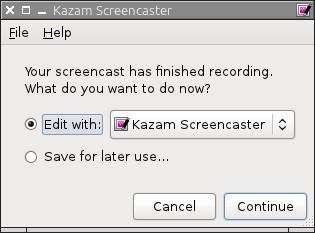 Kazam Screencaster - приложение для создания скринкастов в Линукс - сохраниение результатов скринкаста