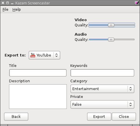 Kazam Screencaster - приложение для создания скринкастов в Линукс - загрузка скринкаста на YouTube