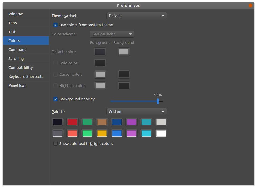 Another Drop Down Terminal - preferences - colors