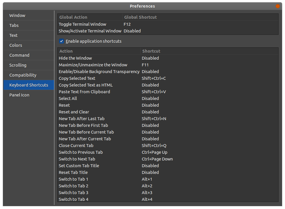 Another Drop Down Terminal - preferences - hotkeys