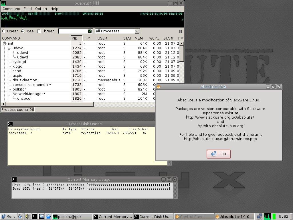 Absolute 14 0 / Модификация Slackware Linux с оконным