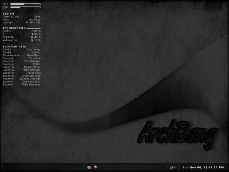 ArchBang Linux 2011.11 (LiveCD) использует менеджер рабочего стола Openbox