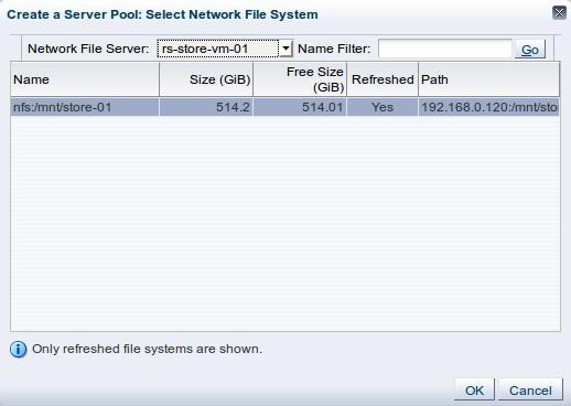 первый этап создания Server Pool - добавление storage