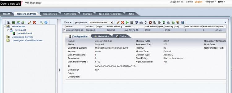 виртуальная машина с windows server 2008 R2 создана в Oracle VM на базе гипервизора xen и готова к запуску