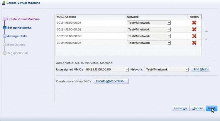 Создание виртуальной машины - выбор виртуальных сетевых адаптеров VNICs