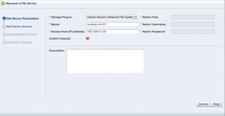 Discover File Server - добавление файловых серверов, шар NFS