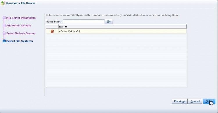 Discover File Server - выбор списка доступных NFS-шар