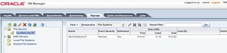 Discover File Server - список добавленных NFS