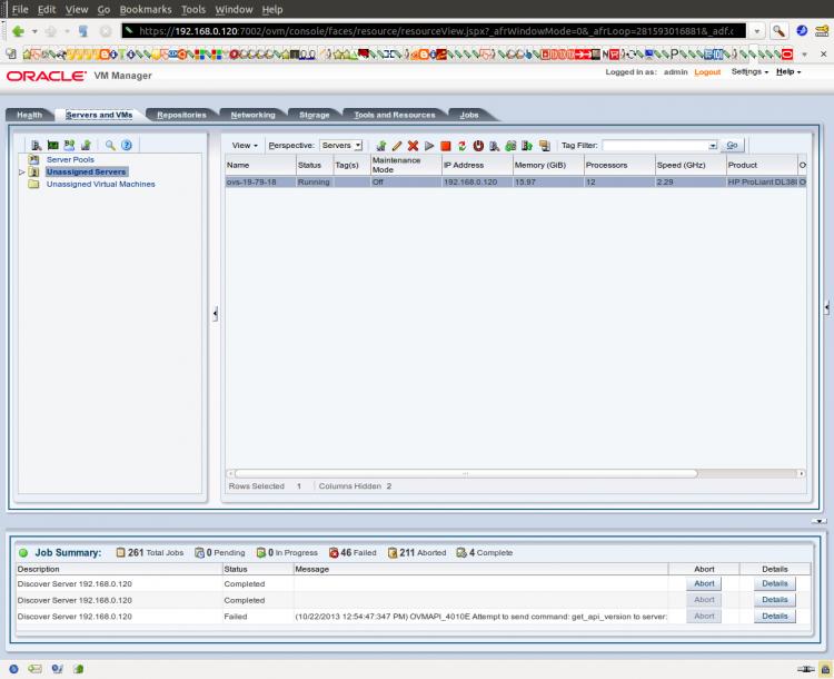 Discover Servers - поиск и добавление первого сервера Oracle VM